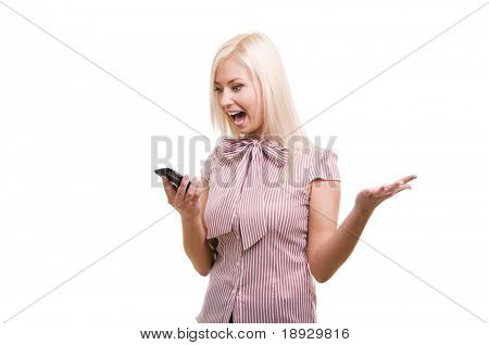 Angry business woman yells while on cell phone isolated on white.