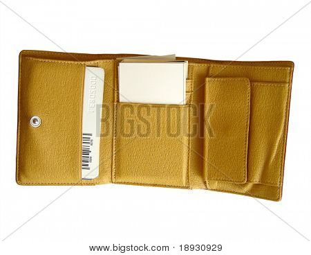 brown leather wallet opened, over white