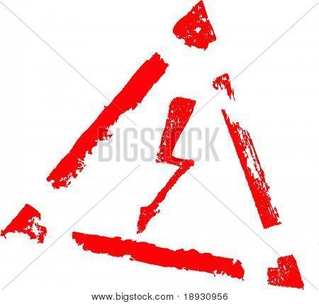 three-cornered high energy sign, lightning
