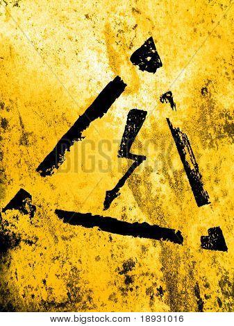 high voltage sign, grunge background