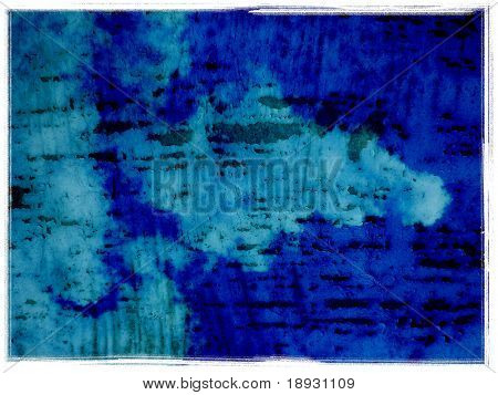 blue grunge wall with clouds