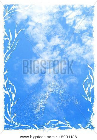 blue sky background with floral border