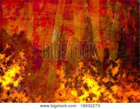burning grunge background, painted rusty metal sheet