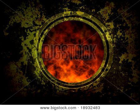 old grunge furnace with round window, red fire flame