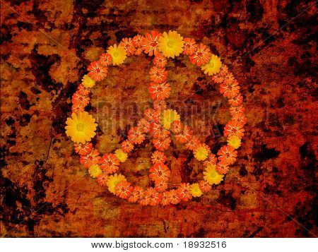peace symbol, flowers on grunge background