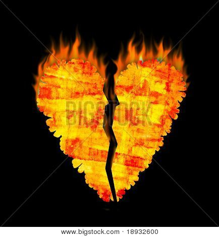 Grunge broken heart on fire