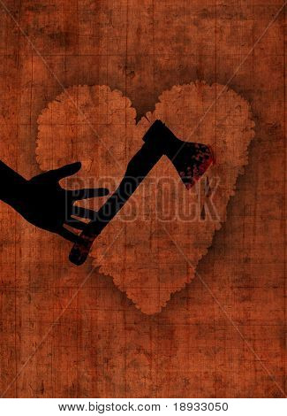 Axe and heart on wooden background