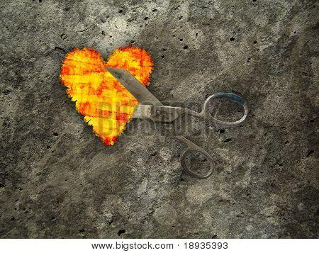 Criminal love: Heart & scissors