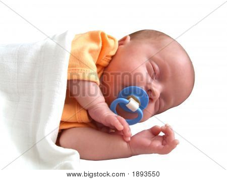 Little Baby Infant Sleeping With Clipping Path
