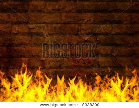 Stone wall on fire
