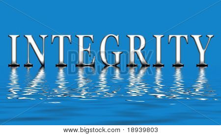 An illustration of the word integrity floating on the water
