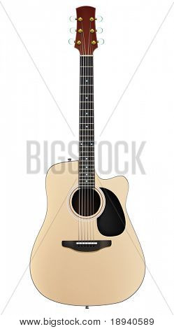 Acoustic Guitar Isolated on White Background. Vector.
