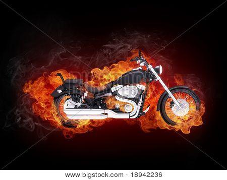 Motocicleta de fuego aislada sobre fondo negro... Gráficos por ordenador.