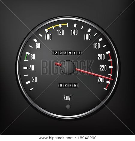 Speedmeter Isolated on Black Background. Vector