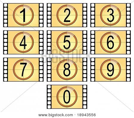 numbered filmstrips isolated in old style