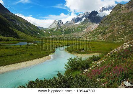 Mountain valley, summer season, val veny, Mont Blanc; Italy.