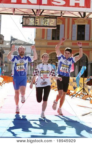 After 42 km the joy on the finish line: march 2 2008 - Marathon, Italy.