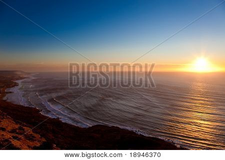 Sunset on the oceanic coast of Maroc, Agadir.