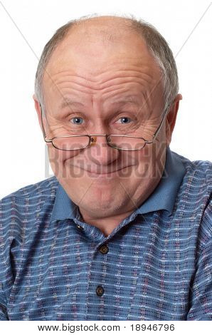 Bald senior man fooling around. Isolated on white. Emotional portraits series.