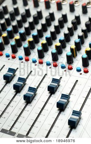 closeup of professional sound mixer. selective focus