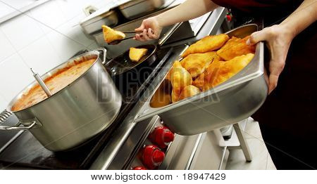 Batter fried in a restaurant kitchen