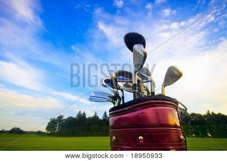 Professional golf gear on the golf field.