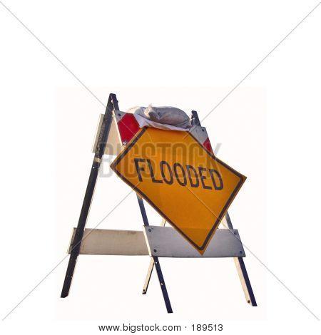 Flooded Sign With Sandbag