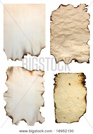 Collection of burnt vintage paper isolated on white