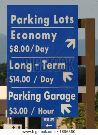 Parking Lot Sign White Text Blue Background