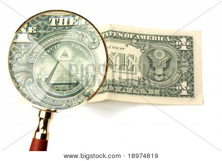 hand magnifier over banknote isolated on white background