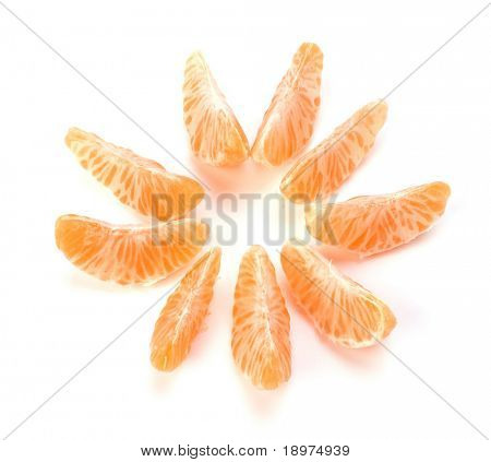peeled mandarin segments isolated on white background