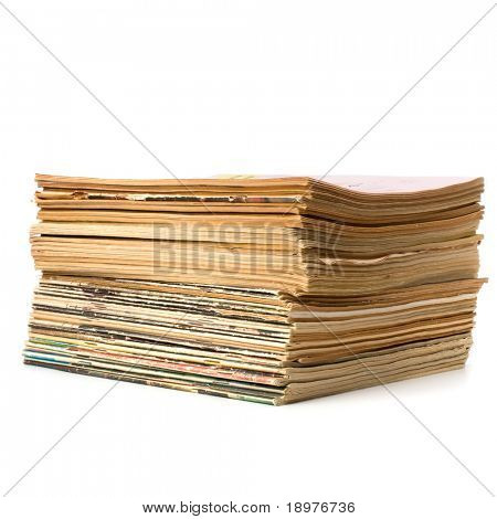 tattered journals stack isolated on white background