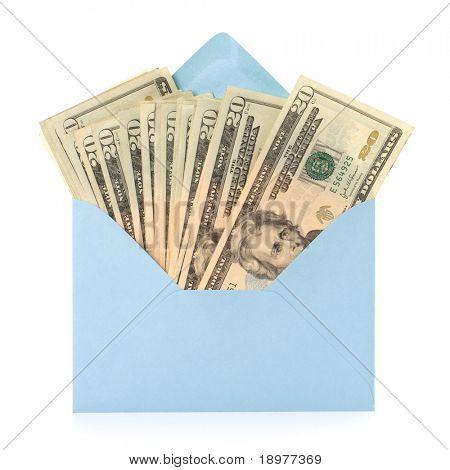 Corruption concept. Envelope full with money isolated on white.