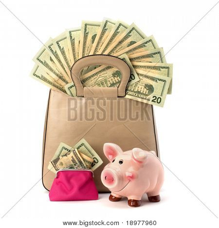 Shopping concept. Handbag full with money isolated on white background.