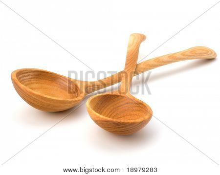 Vintage wooden spoons  isolated on white background