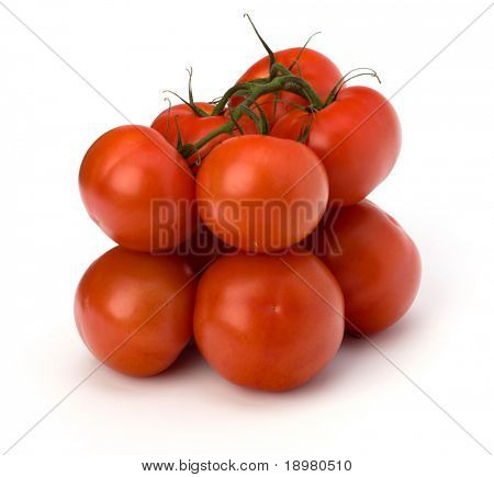 red tomato isolated on the white background