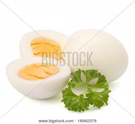 Shell boiled egg isolated on white background