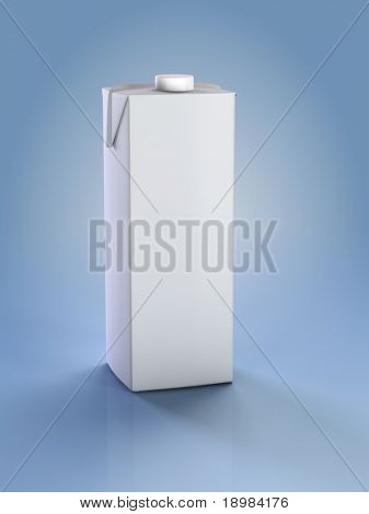 Clean carton pak. 3D illustration of box or carton of milk.