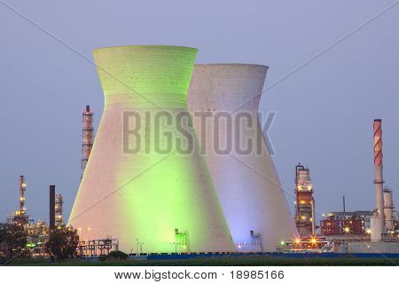 A coal power station and night blue sky