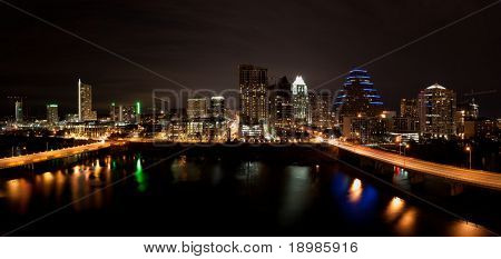 Downtown Austin Texas Cityscape at night from across Lady Bird Lake formally known as Town Lake