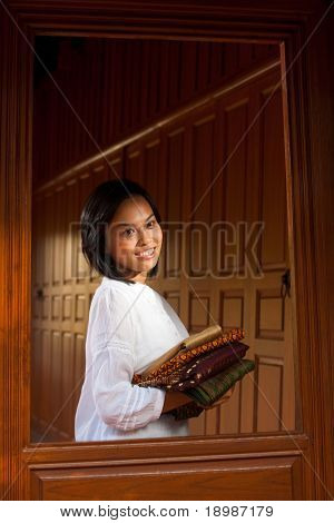 Thai Woman Teak Wood House Window