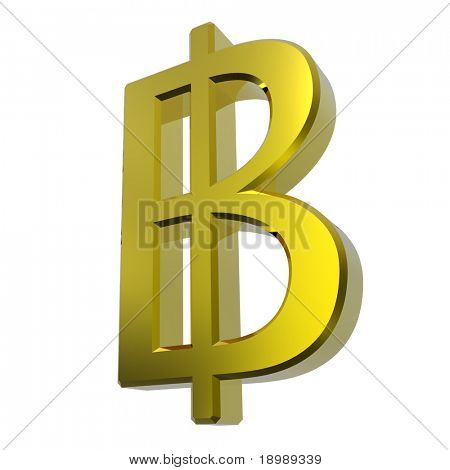 Gold Thai baht sign isolated on white. Computer generated 3D photo rendering.