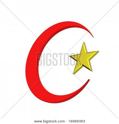 Red and gold Islamic religious sign isolated on white. 3d computer generated photo rendering.
