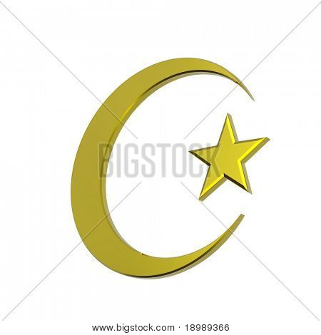 Gold Islamic religious sign isolated on white. 3d computer generated photo rendering.