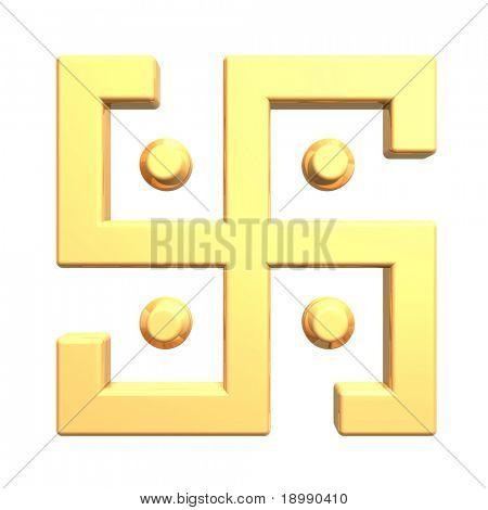Gold swastika symbol isolated on the white. Computer generated 3D photo rendering.
