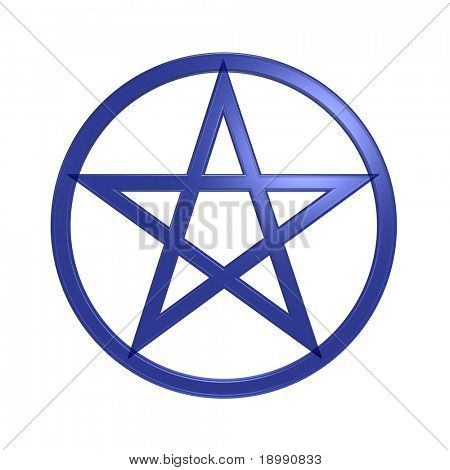 Blue pentagram isolated on white. Computer generated 3D photo rendering.