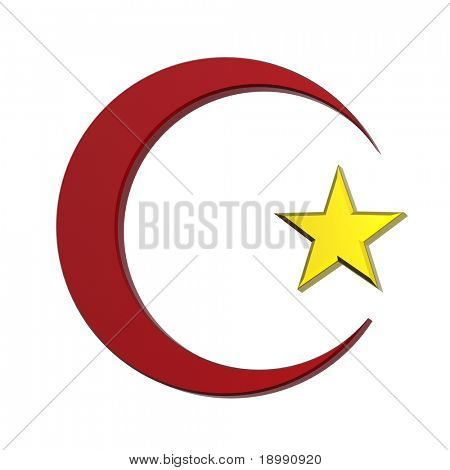 Red and gold Islamic religious sign isolated on white. 3d computer generated photo rendering