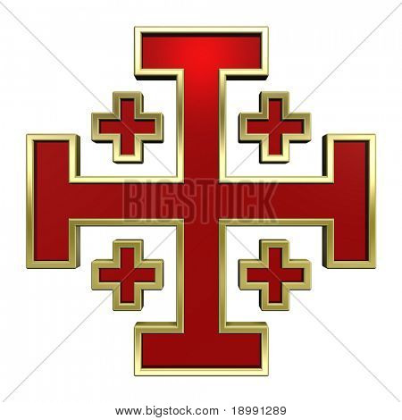 Red with gold frame heraldic cross isolated on white. Computer generated 3D photo rendering.