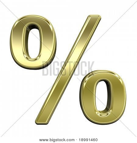 Percent sign from shiny gold alphabet set, isolated on white. Computer generated 3D photo rendering.