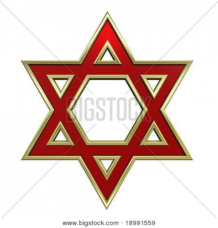 Ruby with gold frame Judaism religious symbol - star of david isolated on white. Computer generated 3D photo rendering.